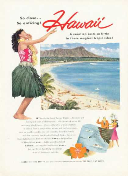 Hawaii Hula Travel Ad Waikiki Beach Diamond Head (1955)