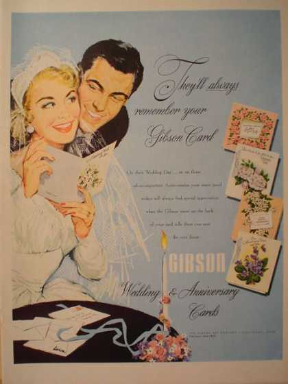 Gibson Wedding and Anniversary cards (1952)