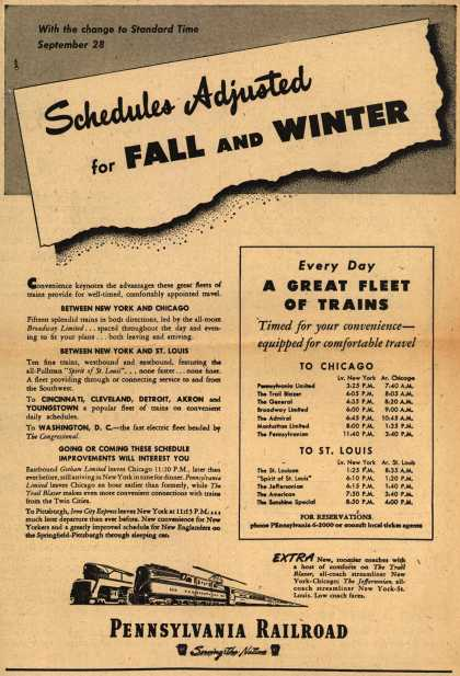 Pennsylvania Railroad – Schedules Adjusted for Fall And Winter (1947)