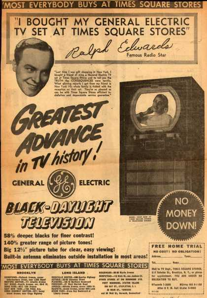 "General Electric Company's Black-Daylight Television – ""I Bought My General Electric TV Set At Times Square Stores"" (1950)"