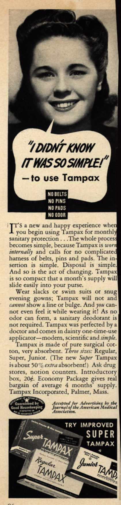 "Tampax's Tampons – ""I Didn't Know It Was So Simple!""-to use Tampax (1942)"