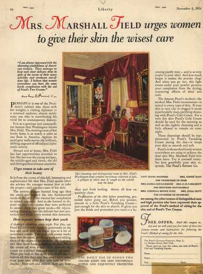 Pond's Extract Co.'s Pond's Cold Cream and Vanishing Cream – Mrs. Marshall Field urges women to give their skin the wisest care. (1924)