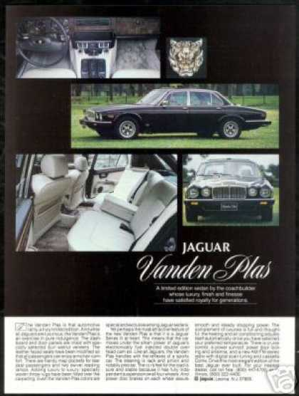 Black Jaguar Vanden Plas Car Vintage Photo (1982)