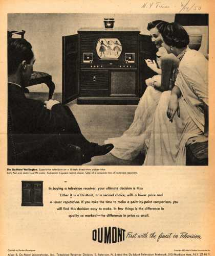 Allen B. DuMont Laboratorie's Radio Phonograph Television – Du Mont First with the finest in Television (1950)