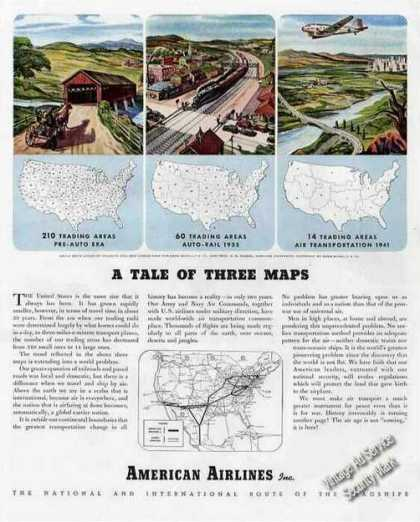 "American Airlines ""Tale of 3 Maps"" Ad W/routemap (1944)"