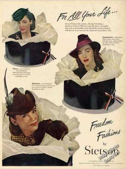 "Stetson Ladies Hats ""Freedom Fashions"" Wwii (1944)"