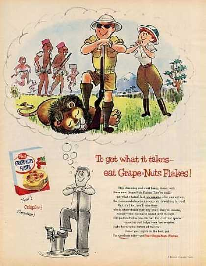 "Post Grape-nuts Cereal Ad ""To Get What... (1955)"