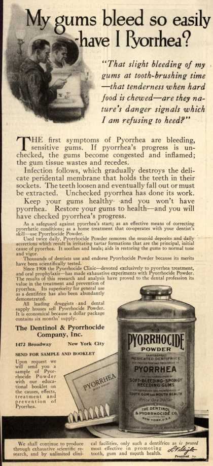 Dentinol & Pyorrhocide Co.'s Pyorrhocide Powder – My gums bleed so easily-have I Pyorrhea? (1919)