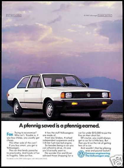VW Volkswagen Fox Photo Pfenning Vintage (1989)