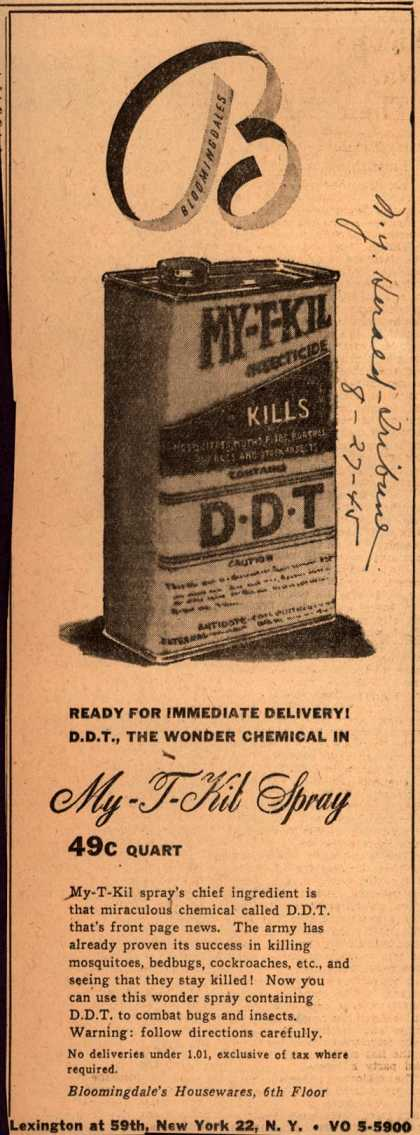 Unknown's My-T-Kill Spray – Ready For Immediate Delivery! D.D.T., The Wonder Chemical In My-T-Kill Spray (1945)