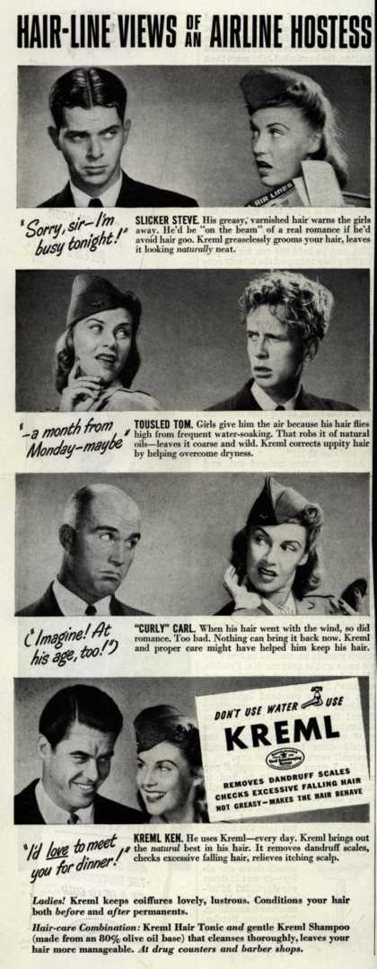 Kreml's hair tonic – Hair-Line Views of an Airline Hostess (1941)