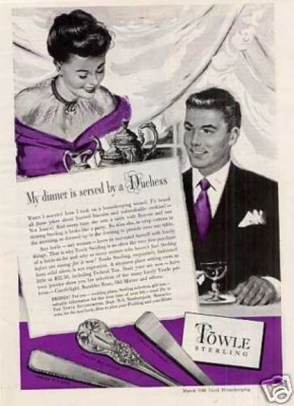 "Towle Sterling Ad ""My Dinner Is Served... (1948)"