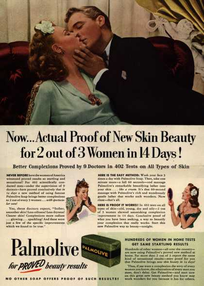 Palmolive Company's Palmolive Soap – Now...Actual Proof of New Skin Beauty for 2 out of 3 Women in 14 Days (1943)