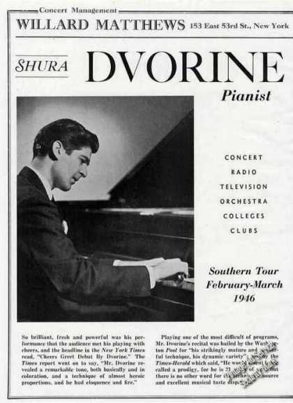 Shura Dvorine Photo Piano Booking (1946)