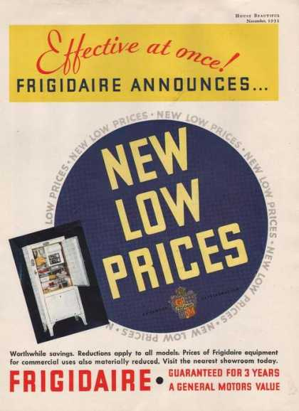New Low Prices Firigidair (1931)