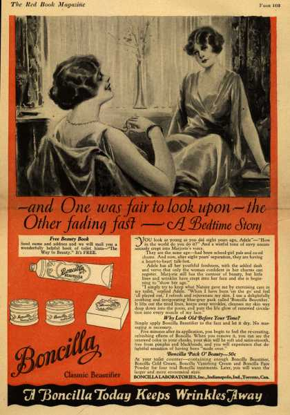 Boncilla Laboratorie's Boncilla Cosmetics – -and One was fair to look upon-the Other fading fast – A Bedtime Story (1925)