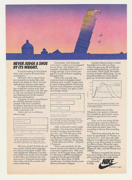 Nike Shoe Judge Weight Leaning Tower art (1982)