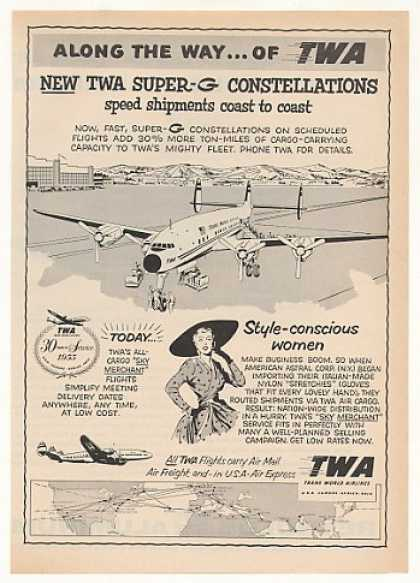 TWA Airlines Super-G Constellation Cargo Plane (1955)