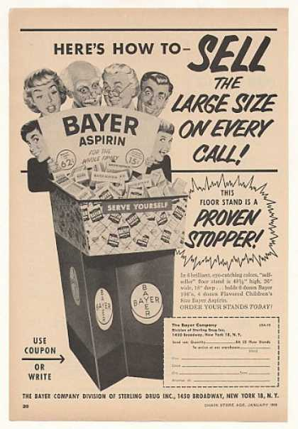 Bayer Aspirin Floor Stand Display (1955)