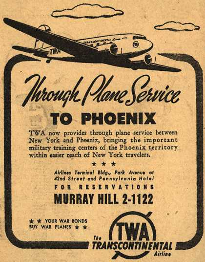 Transcontinental & Western Air's Phoenix – Through Plane Service To Phoenix (1943)