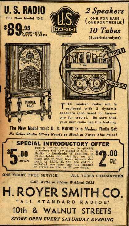 U.S. Radio's Model10-C – 2 speakers 10 Tubes (1932)