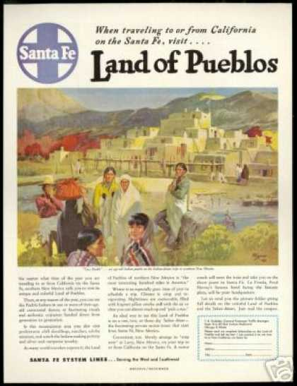 Santa Fe Train Railroad N Mexico Pueblo Indian (1947)