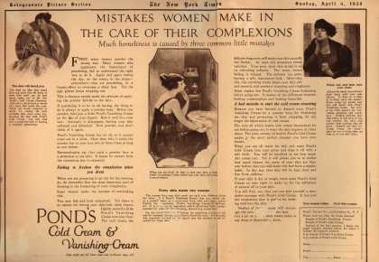 Pond's Extract Co.'s Pond's Cold Cream and Vanishing Cream – Mistakes women make in the care of their complexion (1920)
