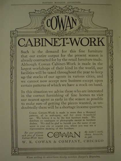 W.K Cowan Co Cabinet Work AND Postum Cereal Co (1910)