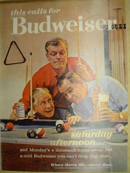 Budweiser Beer. Pool table theme. Saturday afternoon (1963)