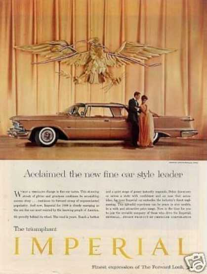 "Chrysler Imperial Car Ad ""Acclaimed the New... (1958)"