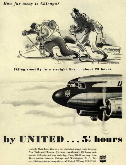 United Air Line's Chicago – How far away is Chicago? Skiing steadily in a straight line... about 93 hours, by United... 5 1/2 hours (1945)