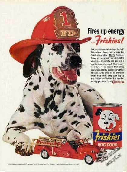 Beautiful Dalmatian W/fire Hat Photo Friskies (1962)