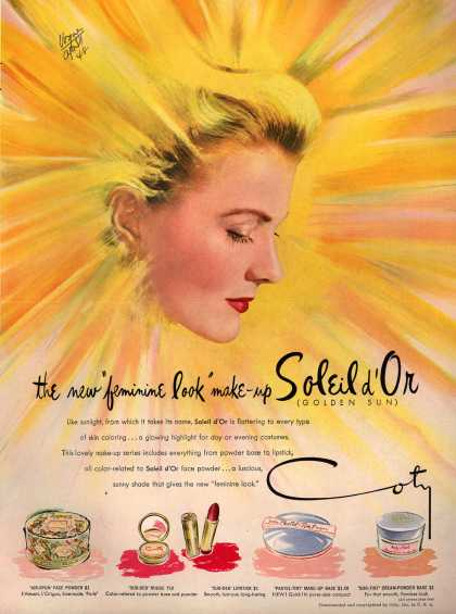 "Coty's Soleil d'Or make-up – The new ""feminine look"" make-up Soleil d'Or (Golden Sun) (1948)"