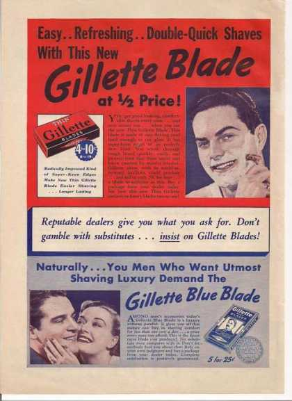 Gillette Razor Blades and Blue Blade (1939)