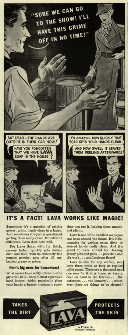 "Procter & Gamble Co.'s Lava Soap – ""Sure We Can Go To The Show! I'll Have This Grime Off In No Time!"" (1935)"