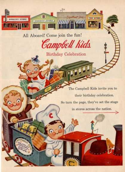 Campbell Kids Toy Rail Road Train Ad T (1955)