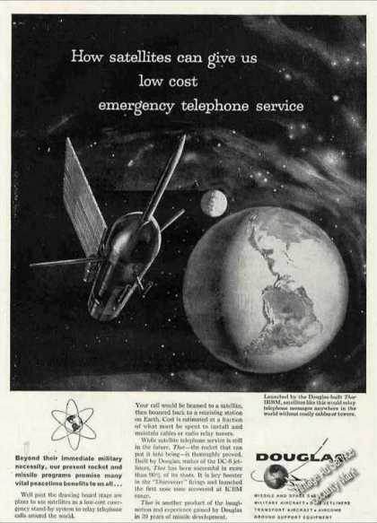 Douglas Aviation Ad Satellites for Phone Service (1960)