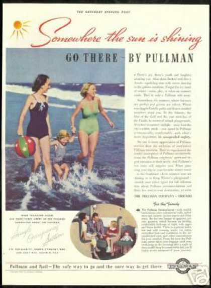 Pullman Train Railroad Swimsuit Beach Photo (1938)