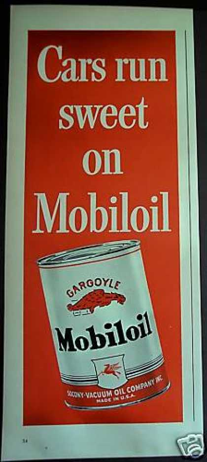 Cars Run Sweet On Mobiloil Motor Oil (1939)