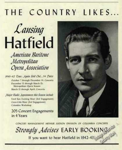 The Country Likes..lansing Hatfield Opera Trade (1942)