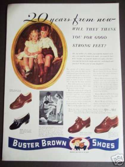Buster Brown Boys & Girls Shoes Strong Feet (1941)
