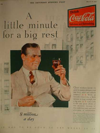 Coke Coca Cola A little minute for a big rest (1928)