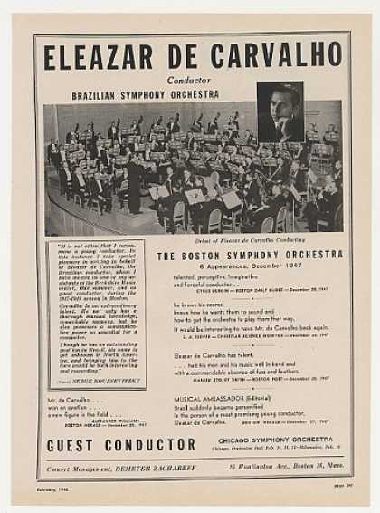 Conductor Eleazar De Carvalho Photo Booking (1948)