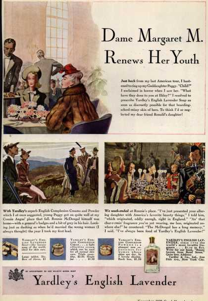 Yardley & Co., Ltd.'s English Lavender Cosmetics – Dame Margaret M. Renews Her Youth (1939)