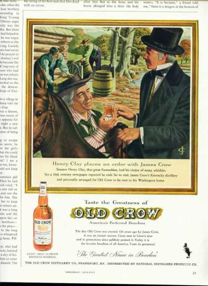 Old Crow Kentucky Bourbon Whiskey C Ad Henry Clay (1950)