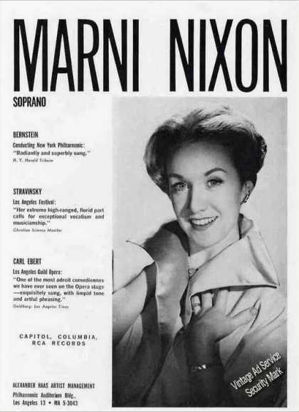 Marni Nixon Photo Soprano Opera Trade (1962)