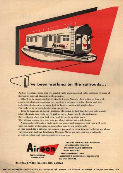 Aireon Manufacturing Company's Radio sets for railroads – I've Been Working on the Railroads... (1946)
