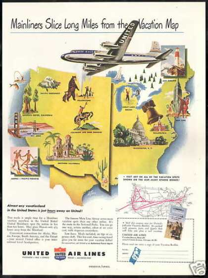 United Airlines Mainliner Vacations System Map (1949)