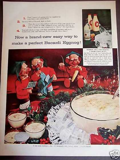 Bacardi Rum Eggnog Recipe Elf Art Holiday (1954)
