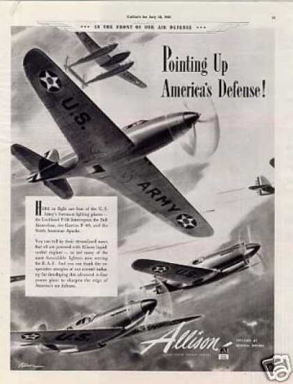 Allison Aircraft Ad P-38, Bell Airacobra, P-40 (1941)